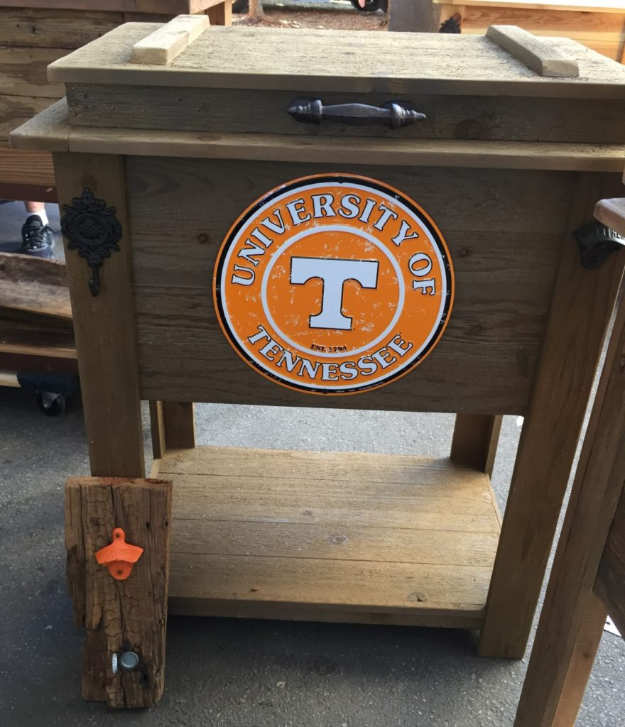 Olive-Brown-university-of-tennessee-wood-cooler-box-ice-chest-tailgate-cooler