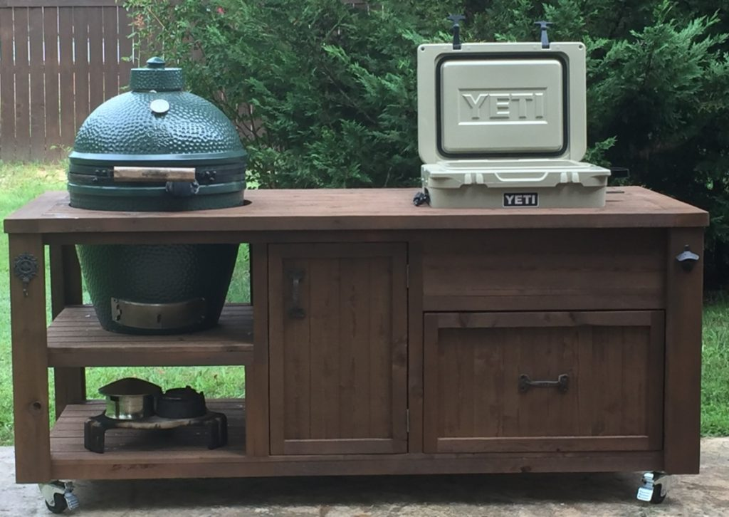 big-green-egg-grill-table-built-in-yeti-ice-chest-rolling-grill-cart
