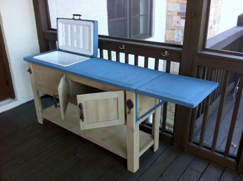 blue-rustic-cooler-ice-chest-drop-leaf-table-patio-cooler