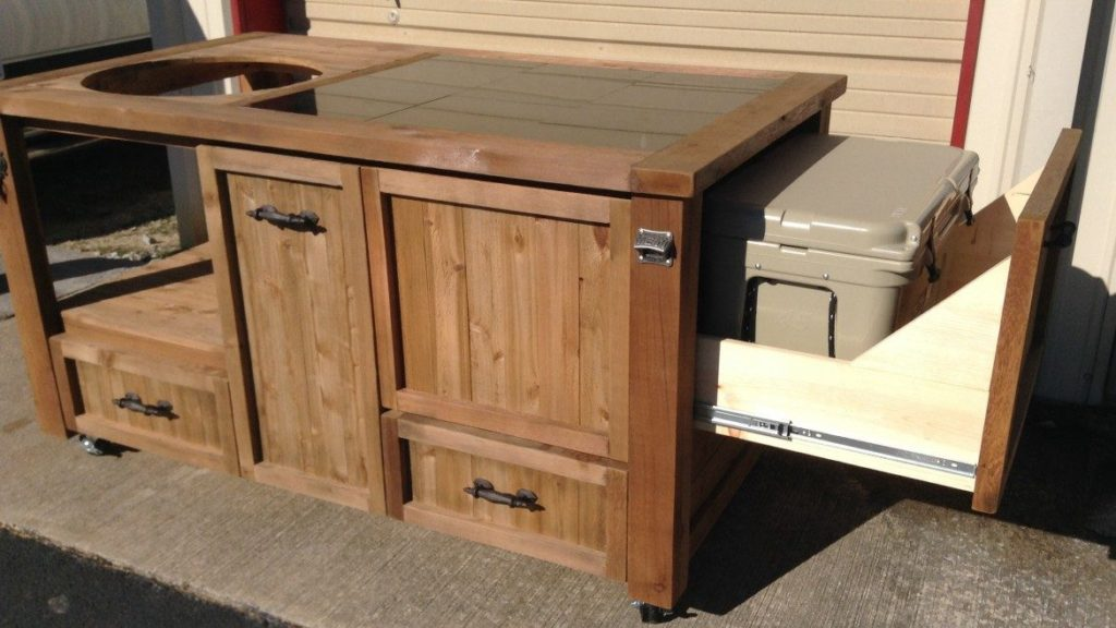 light-mocha-grilling-table-big-green-egg-kamado-joe-grill-with-yeti-ice-chest-side-drawer