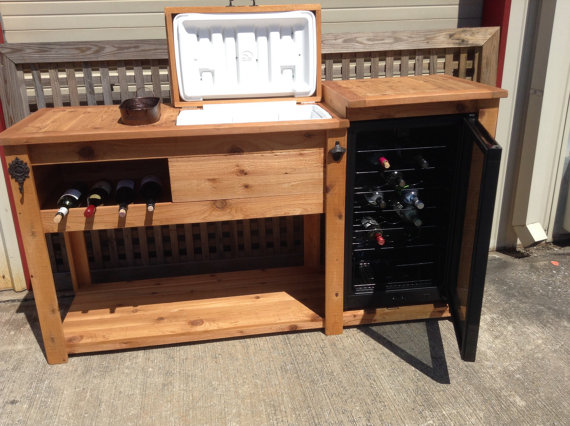 Light wood cooler table with mini fridge rustic woodworx for How to make a small bar