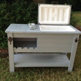 Painted Cooler Table With Ice Bucket And Wine Rack