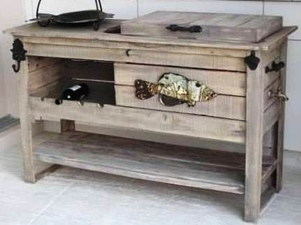 Wood Cooler Table W Wine Rack Ice Chest And Ice Bucket