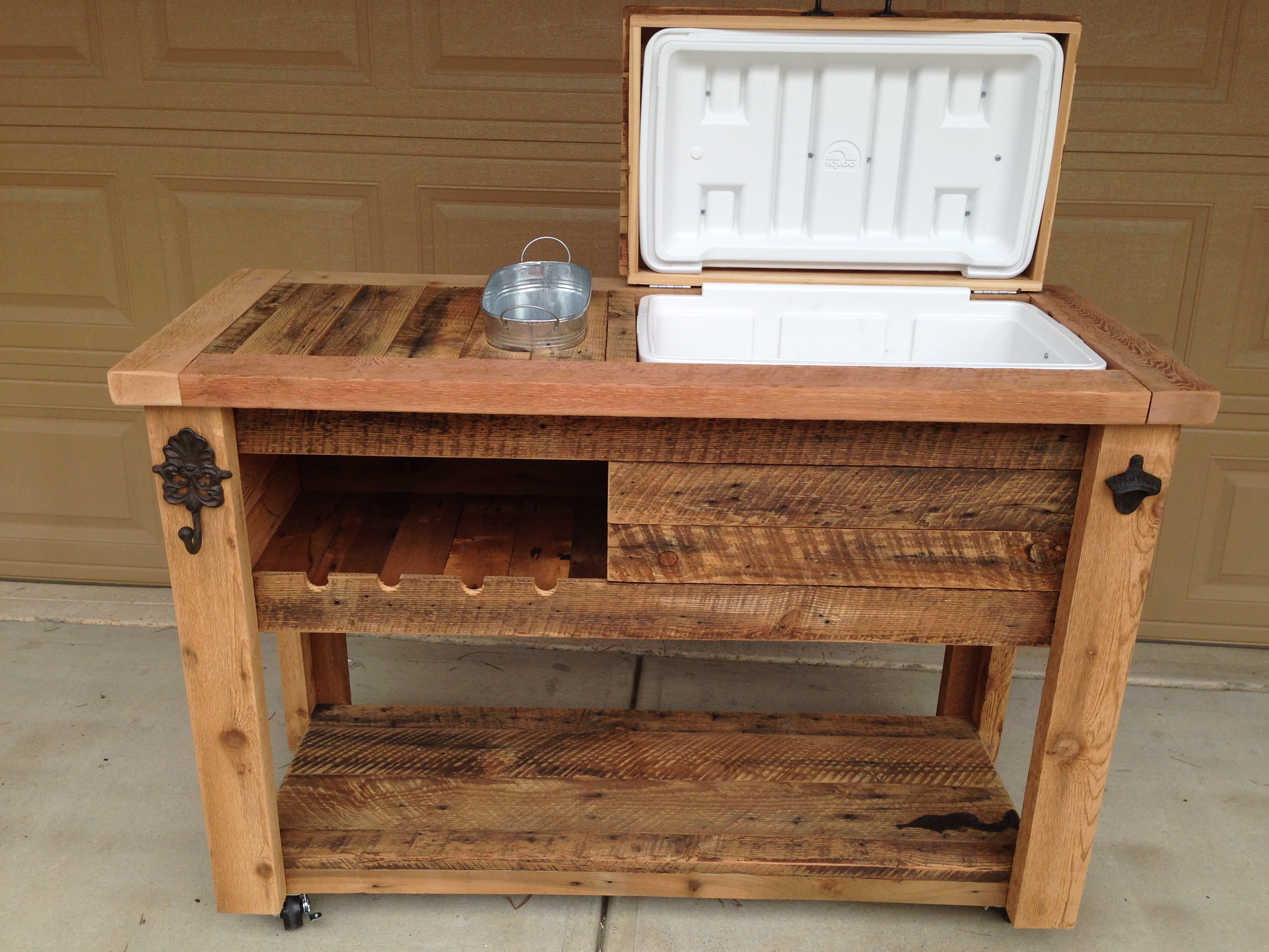 Rustic cooler table with wine rack rustic woodworx Picnic table with cooler plans