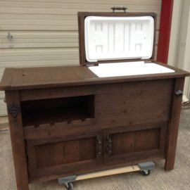 Walnut Rustic Cooler Table With Wine Rack And Cabinet Space